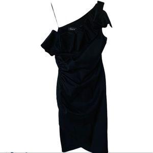 SL Fashions Black One Shoulder Cocktail Dress 6